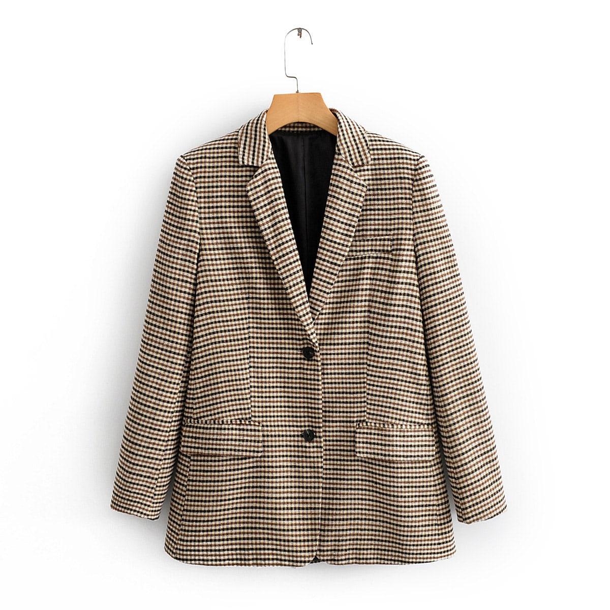 Двубортный пиджак в клетку с воротником-лацканом