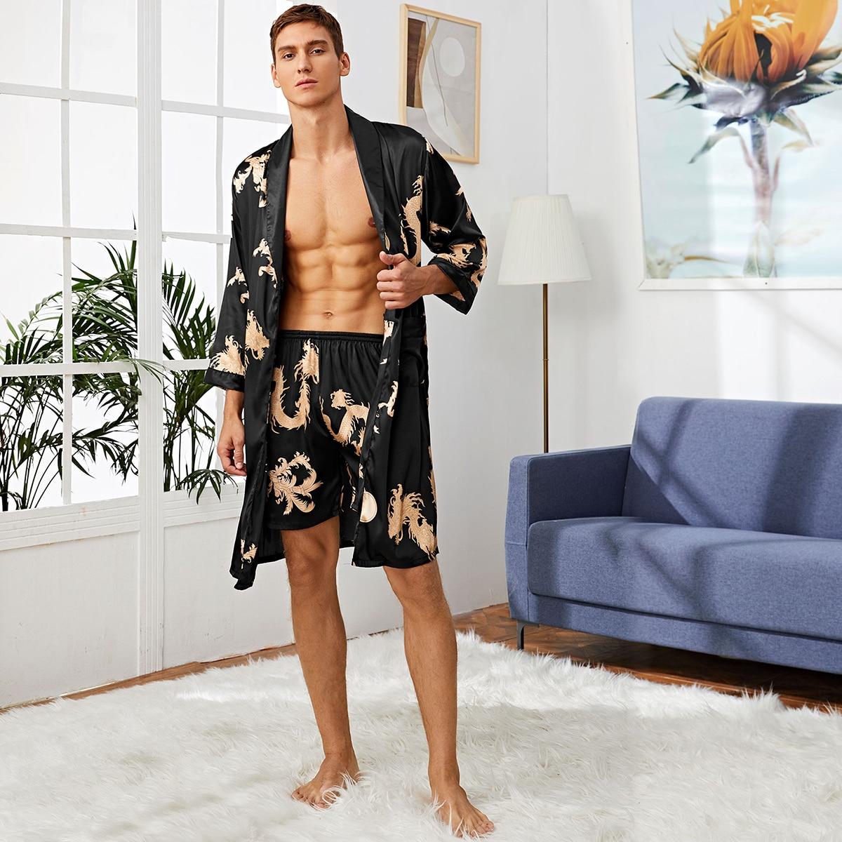 Мужской атласный халат с племенным принтом