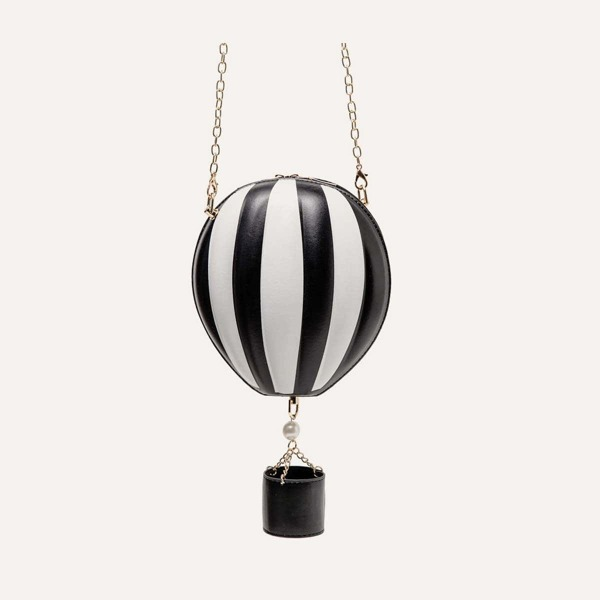 Hot Air Balloon Shaped Chain Bag, Black and white