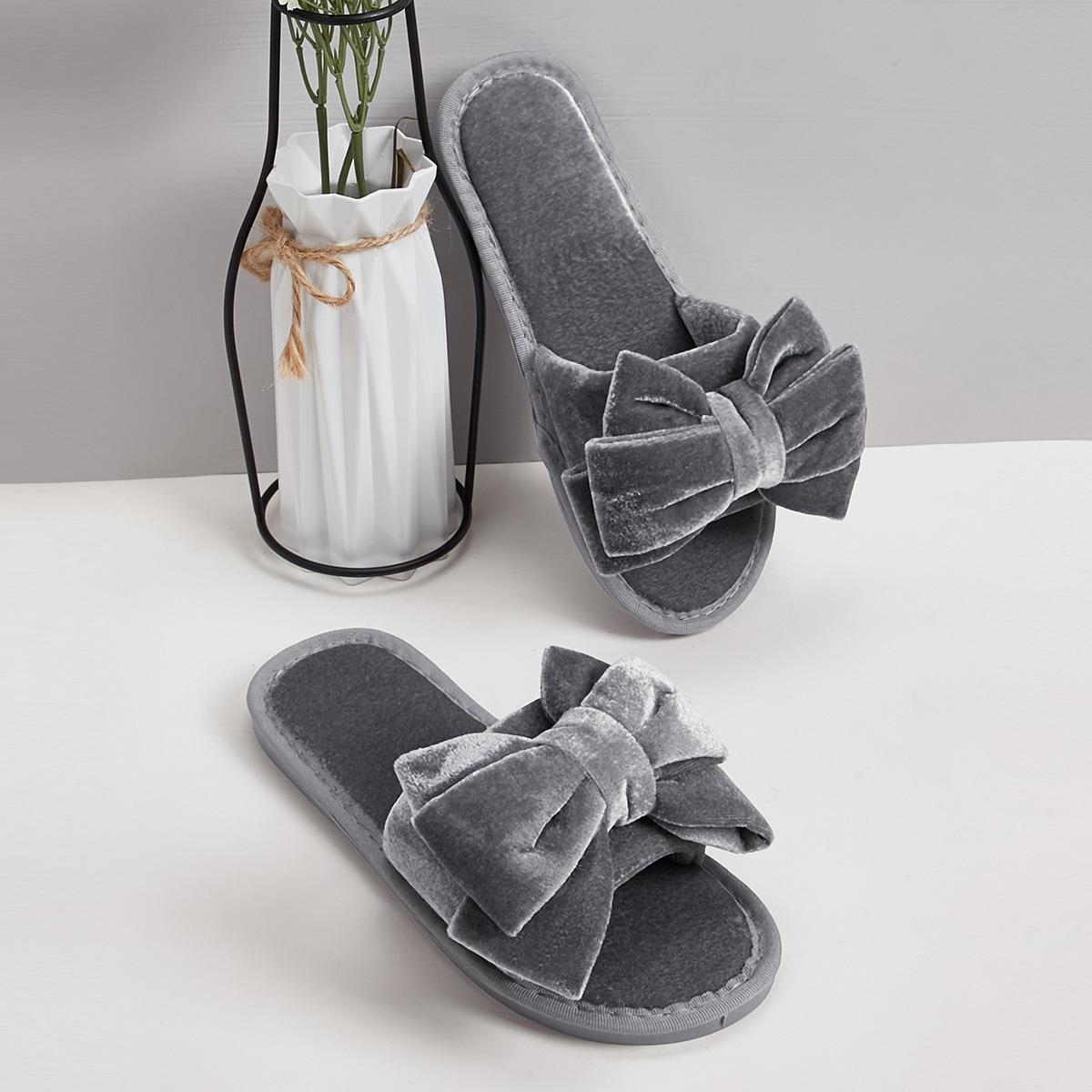 Тапочки с открытым носком и бантом