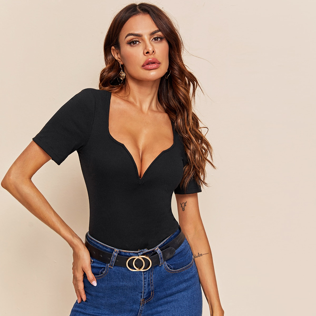 Ribbed Sweetheart Neck Form-Fitting Top