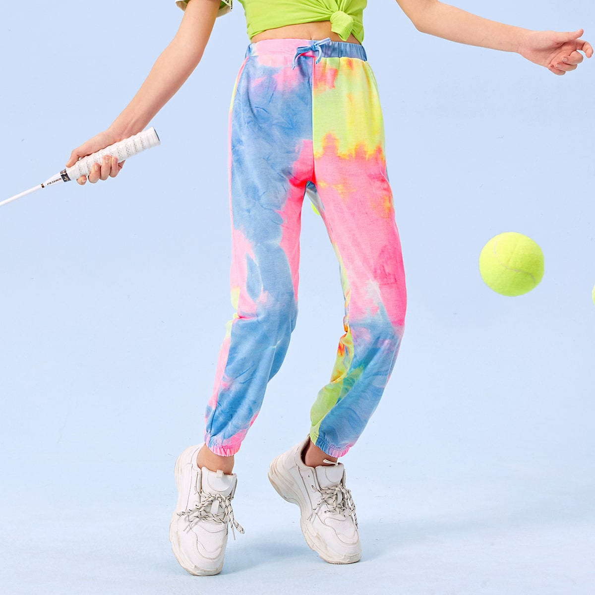 Разноцветные спортивные брюки для девочек