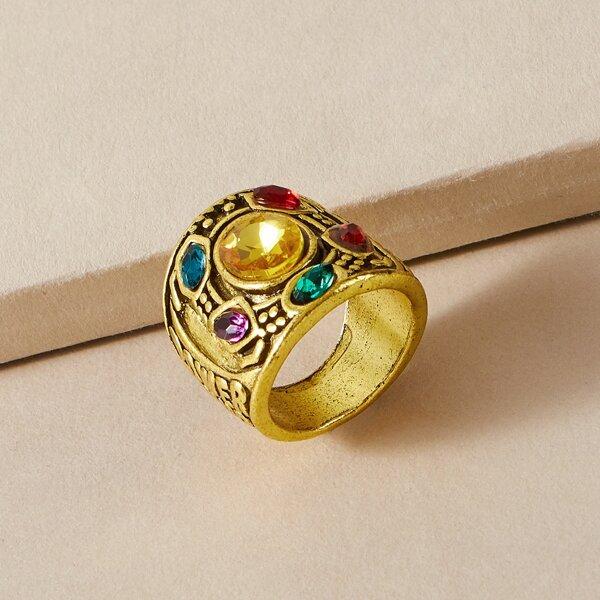 Men Gemstone Decor Ring, Gold
