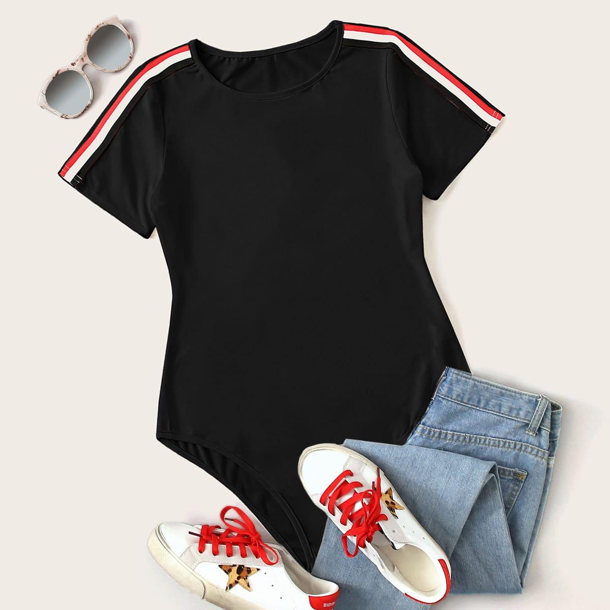Боди-футболка с коротким рукавом и полосками