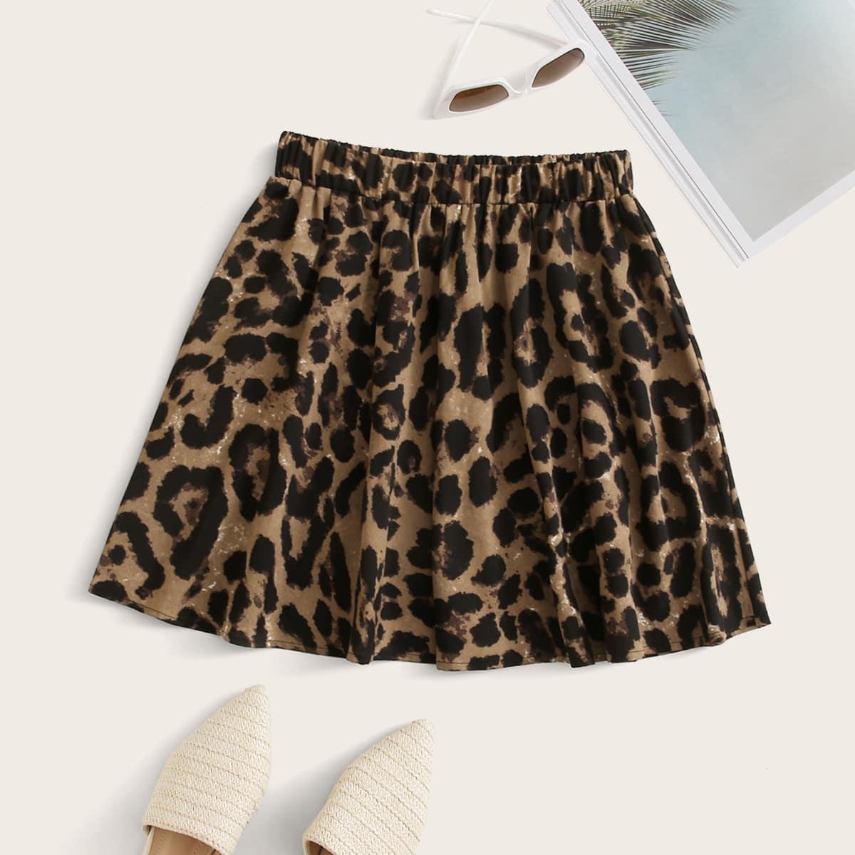 Расклешенная юбка мини с леопардовым принтом