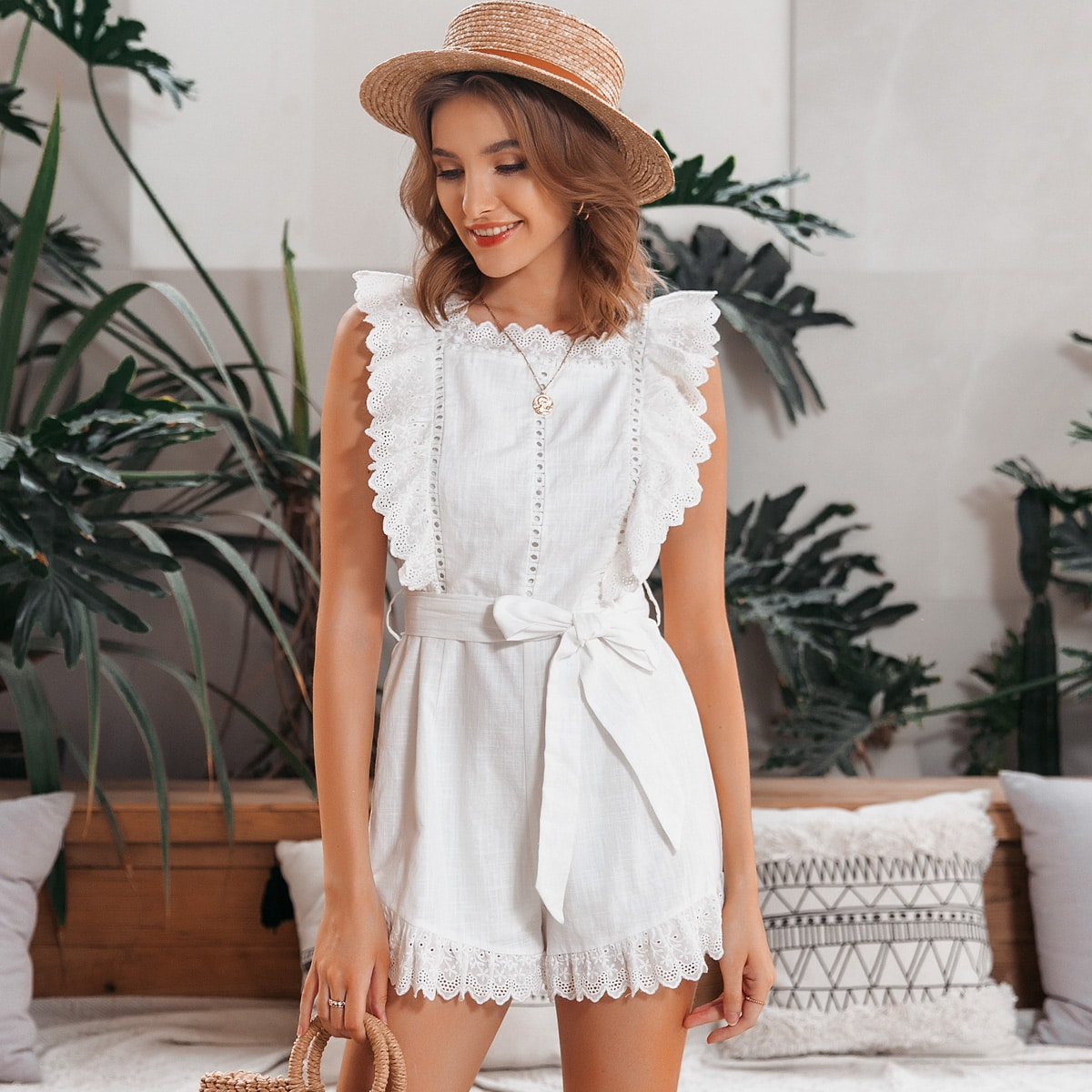 SHEIN / Eyelet Embroidered Ruffle Trim Belted Romper