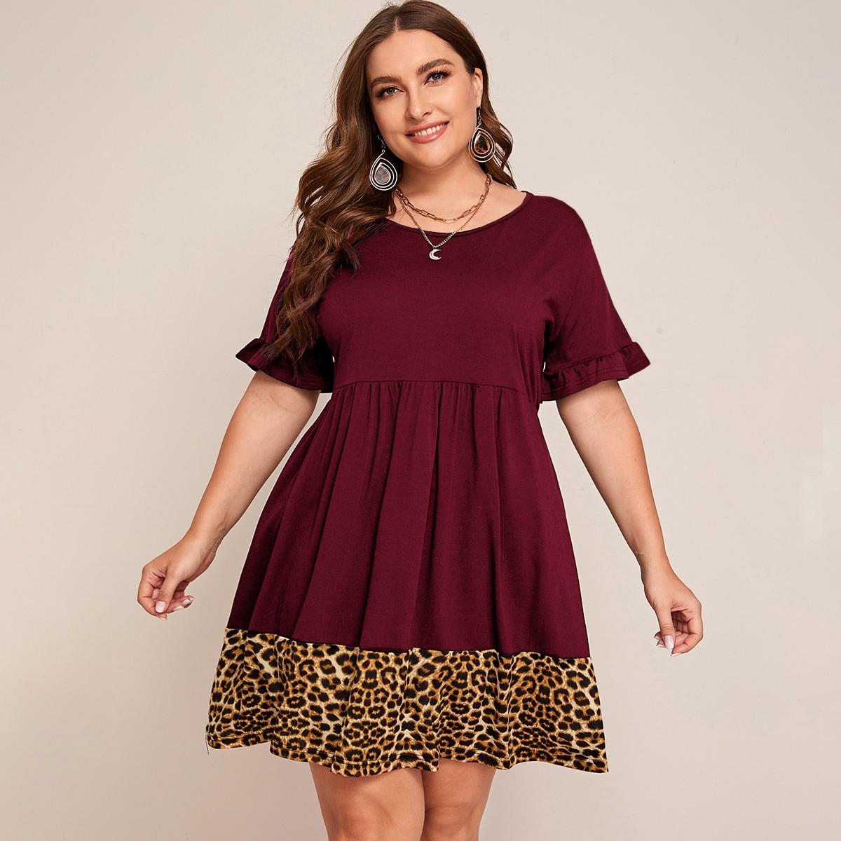 Контрастное леопардовое платье размера плюс