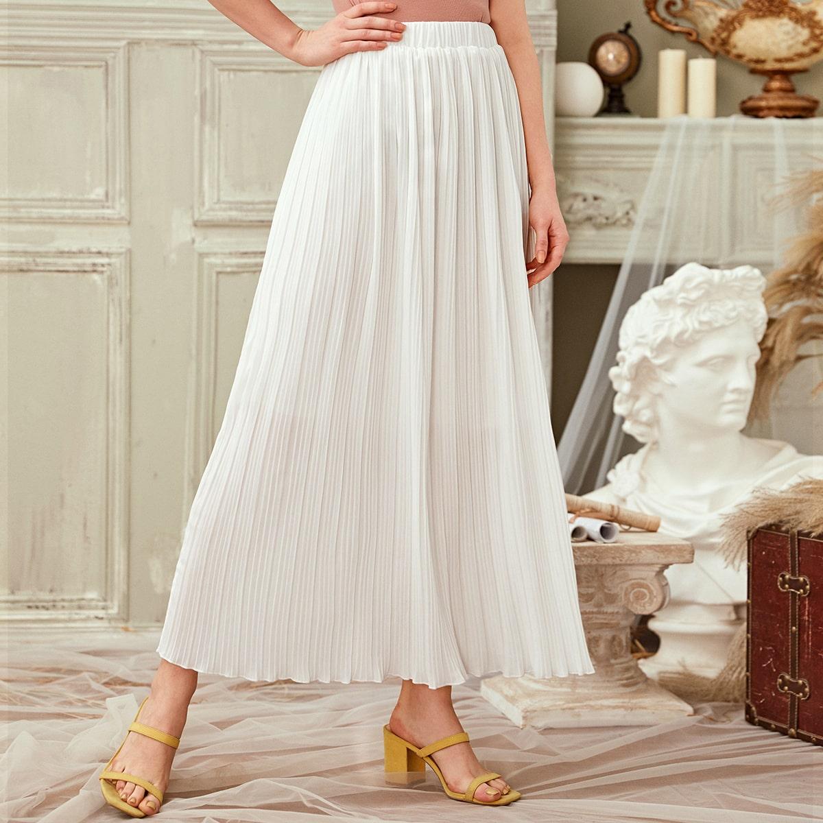Однотонная плиссированная юбка с эластичной талией