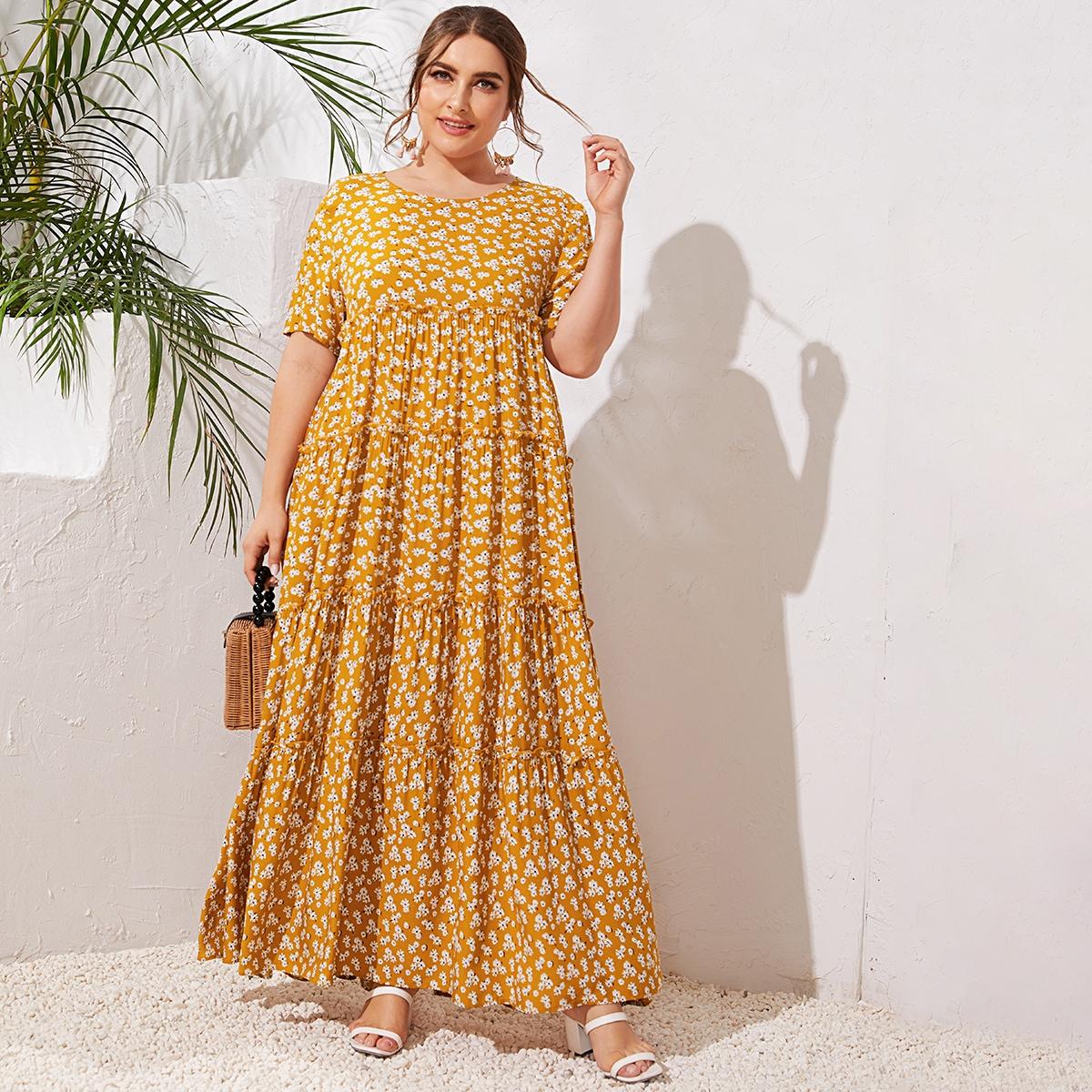 Цветочное платье размера плюс