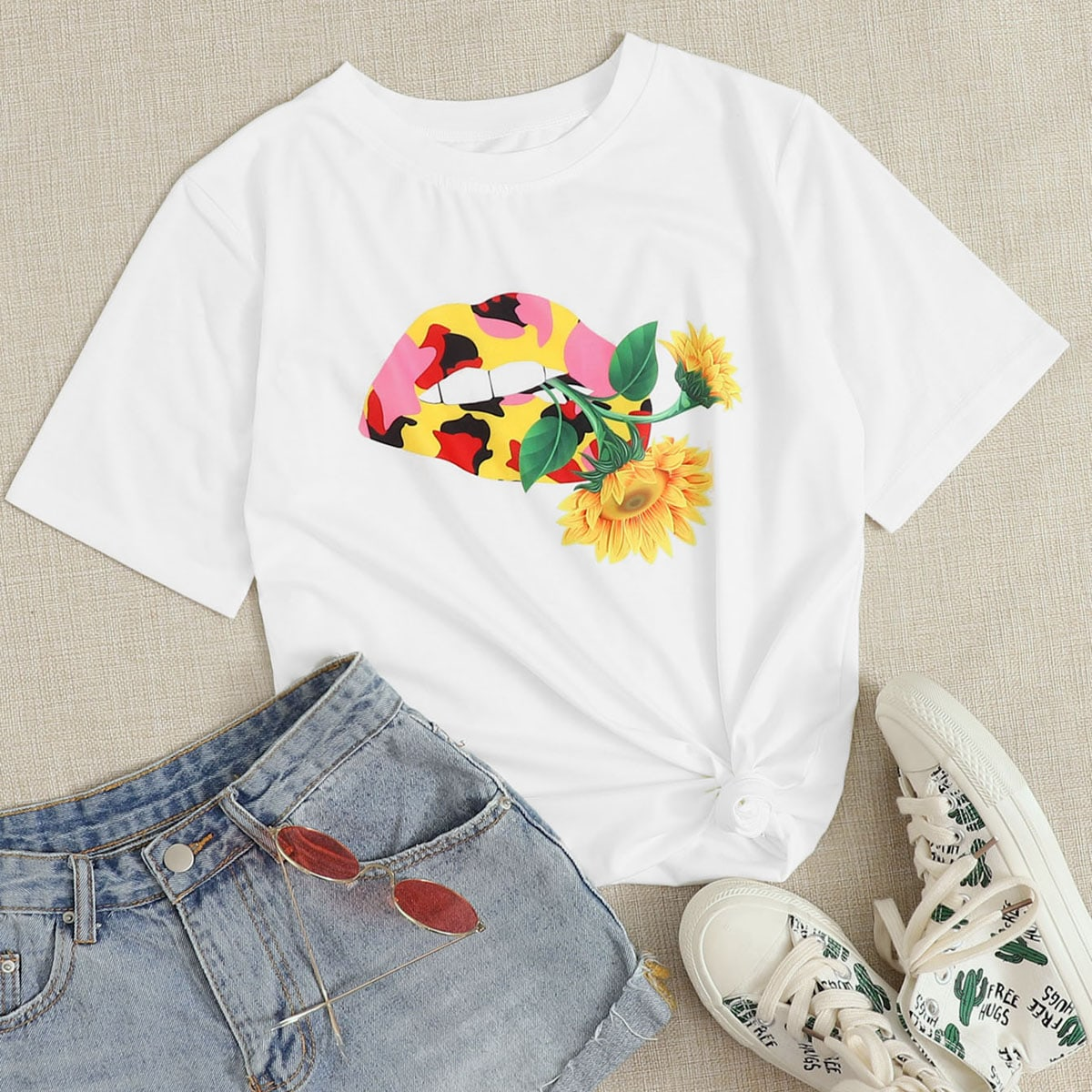Mouth & Sunflower Print Tee thumbnail
