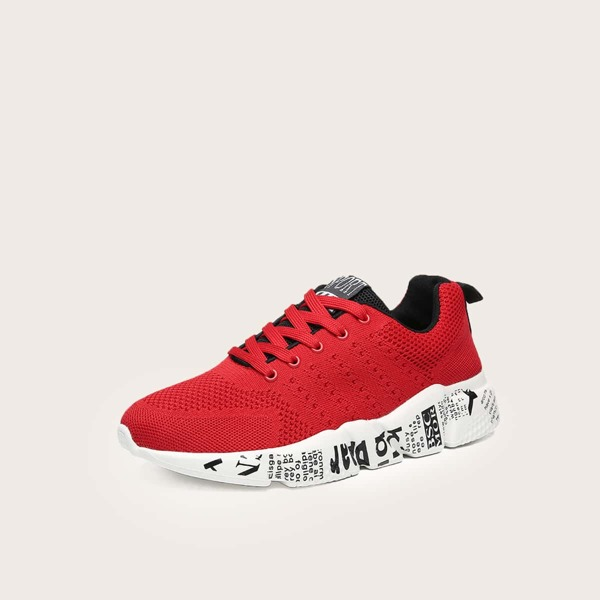 Lace-up Front Wide Fit Sneakers, Red