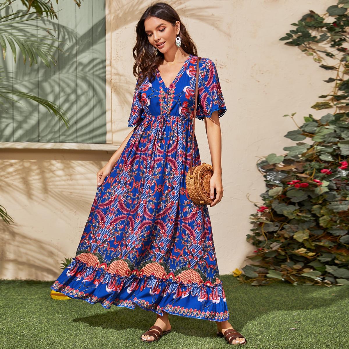 Платье с цветочным и племенным принтом