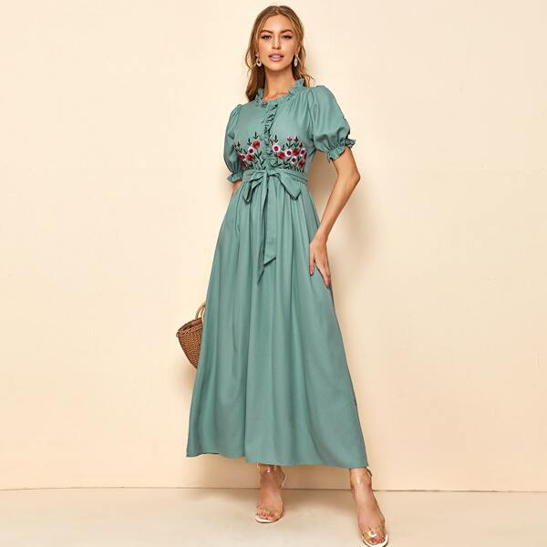 Embroidered Floral Frill Trim Button Front Self Belted Dress, Green