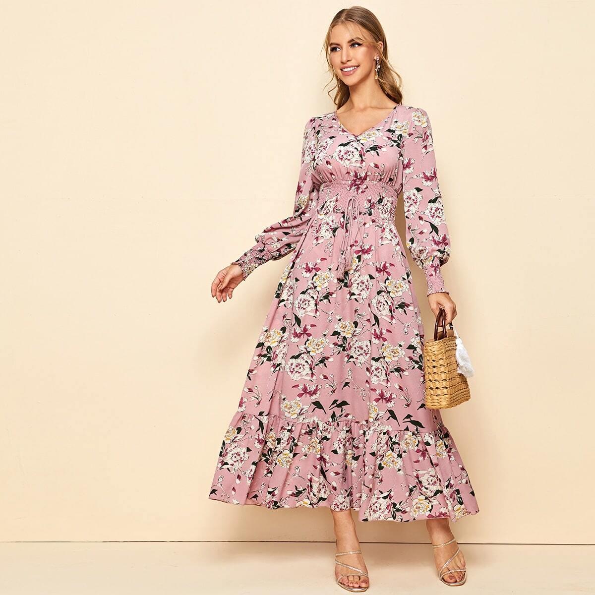 Цветочное платье с узлом
