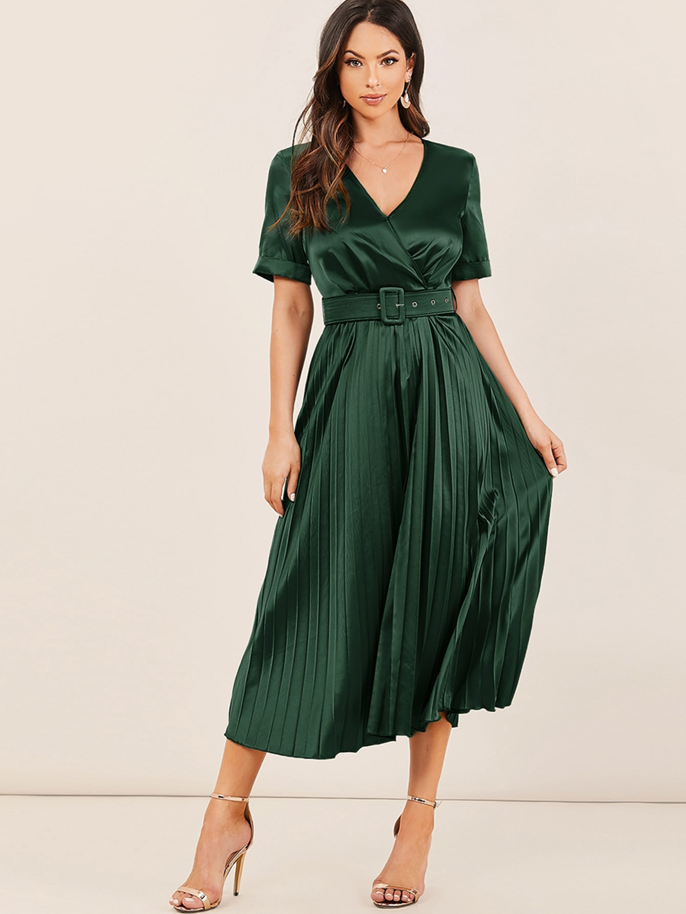 Surplice Neck Cuffed Sleeve Buckle Belted Pleated Satin Dress thumbnail