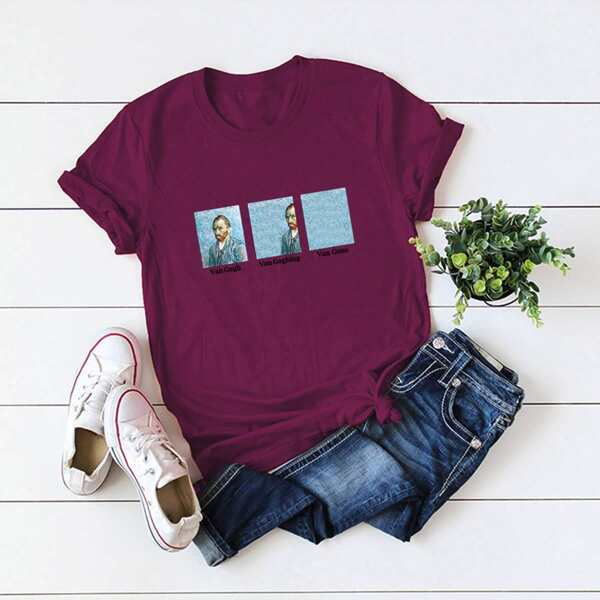 Plus Oil Painting & Letter Graphic Tee, Burgundy