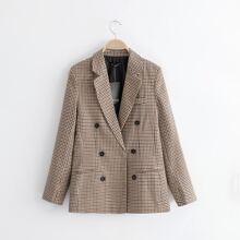 Plaid Lapel Collar Double Breasted Blazer