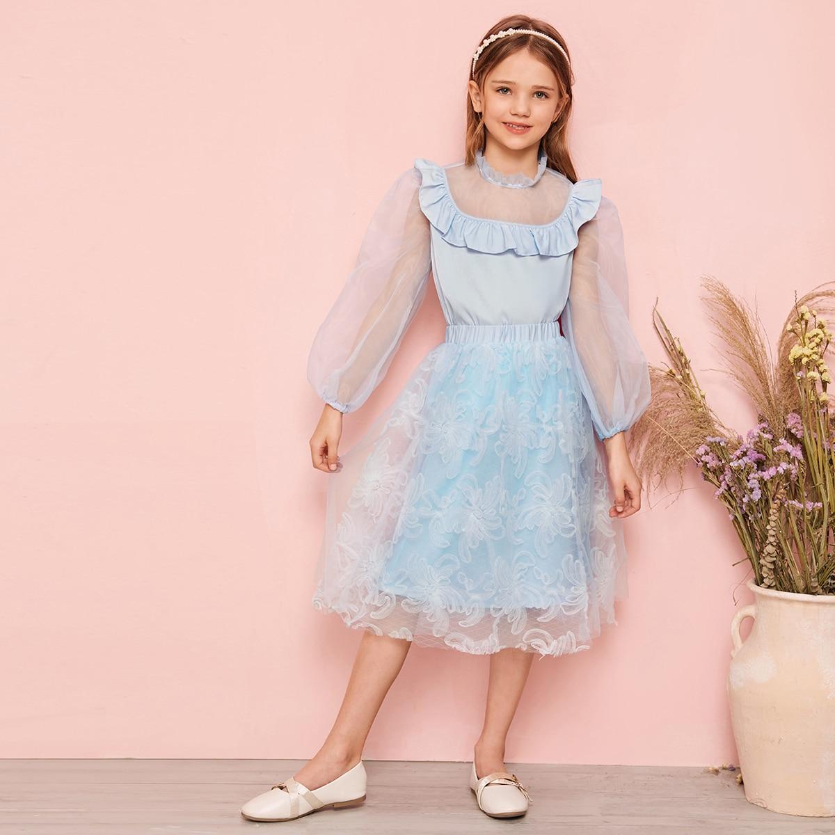 Сетчатая юбка и топ с оригинальным рукавом для девочек