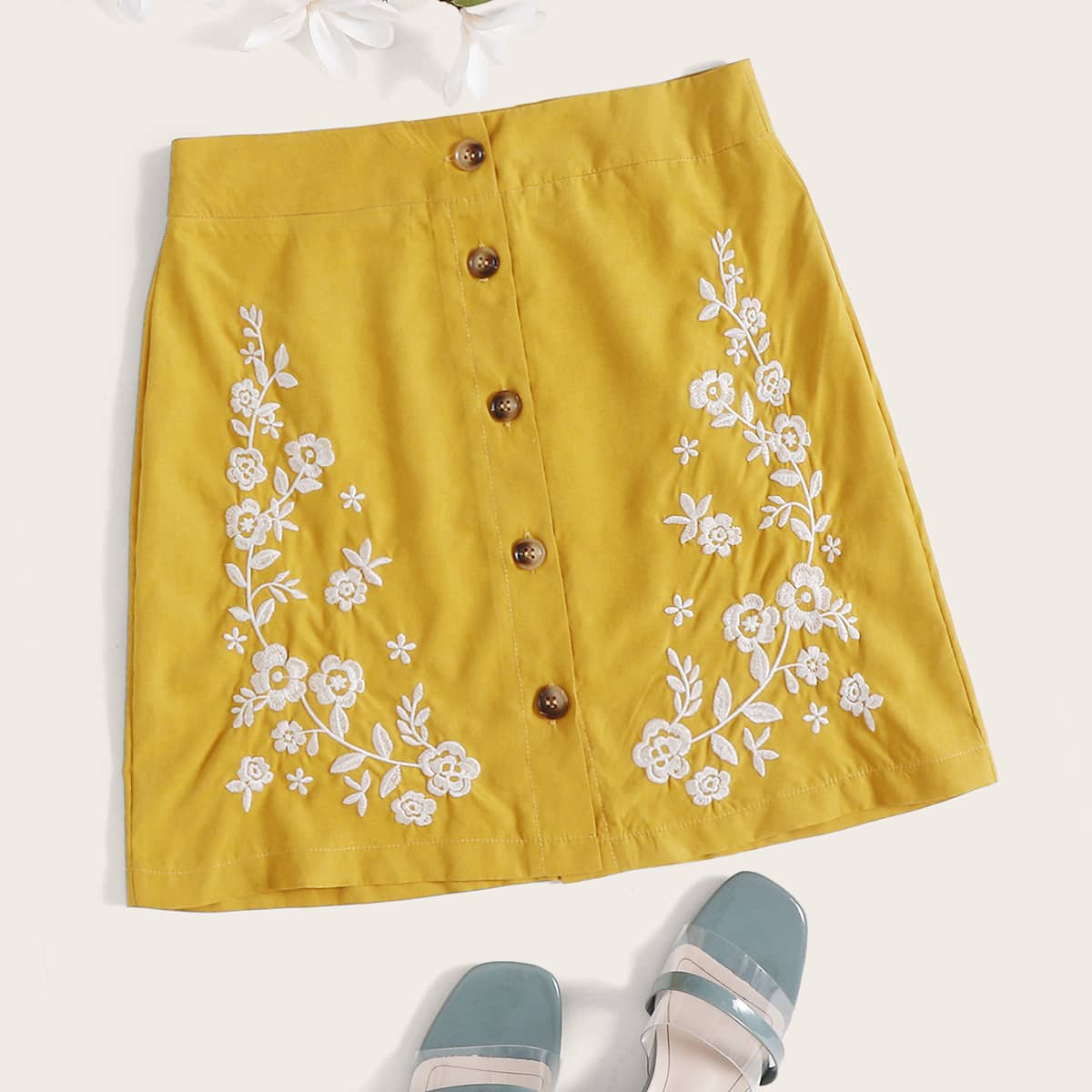 Button Front Floral Embroidery Skirt thumbnail