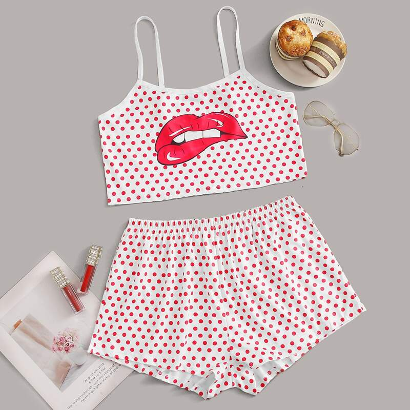 Polka Dot & Lip Cami PJ Set, Multicolor