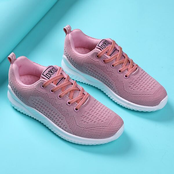 Lace-up Front Wide Fit Sneakers, Pink