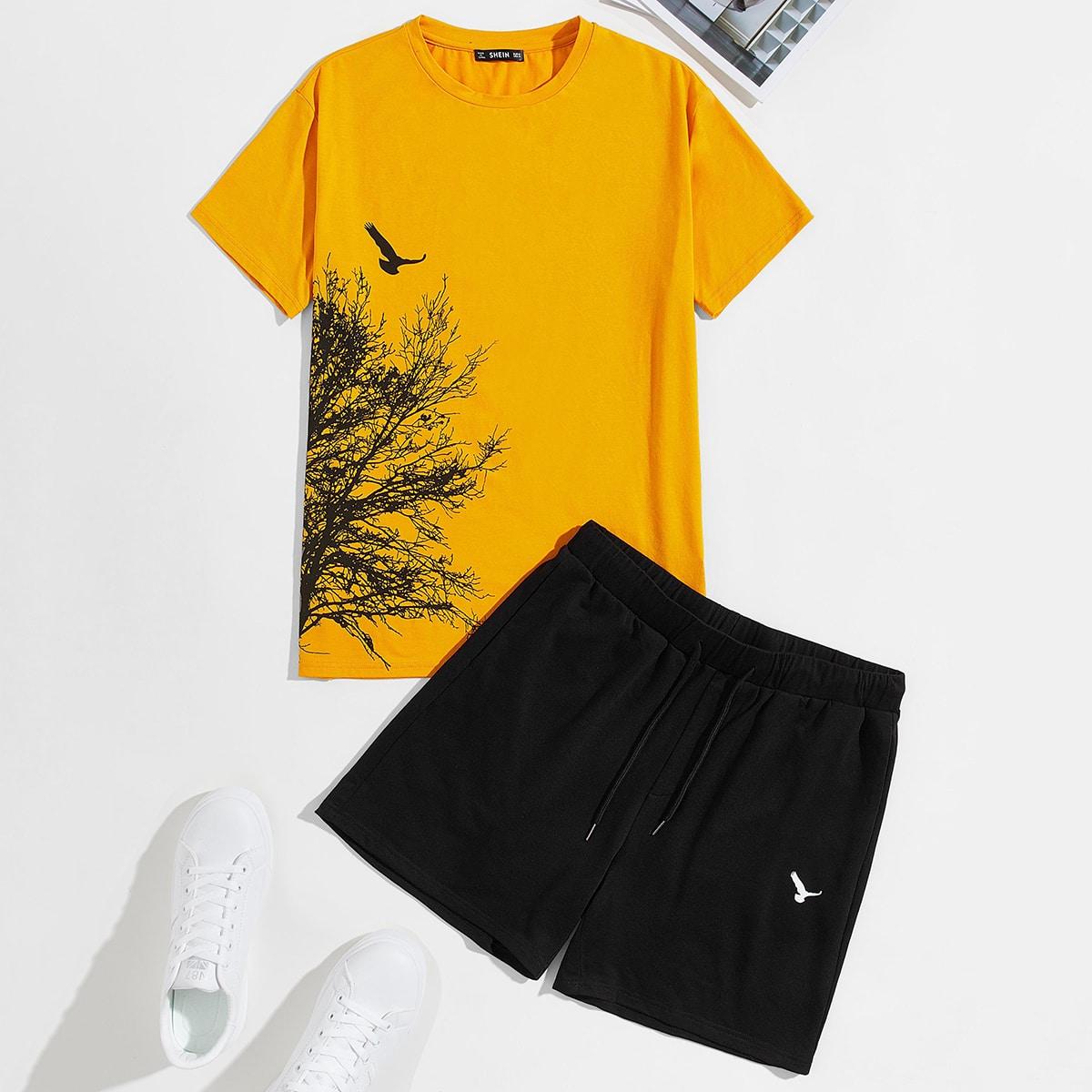 Мужские шорты и топ с графическим принтом