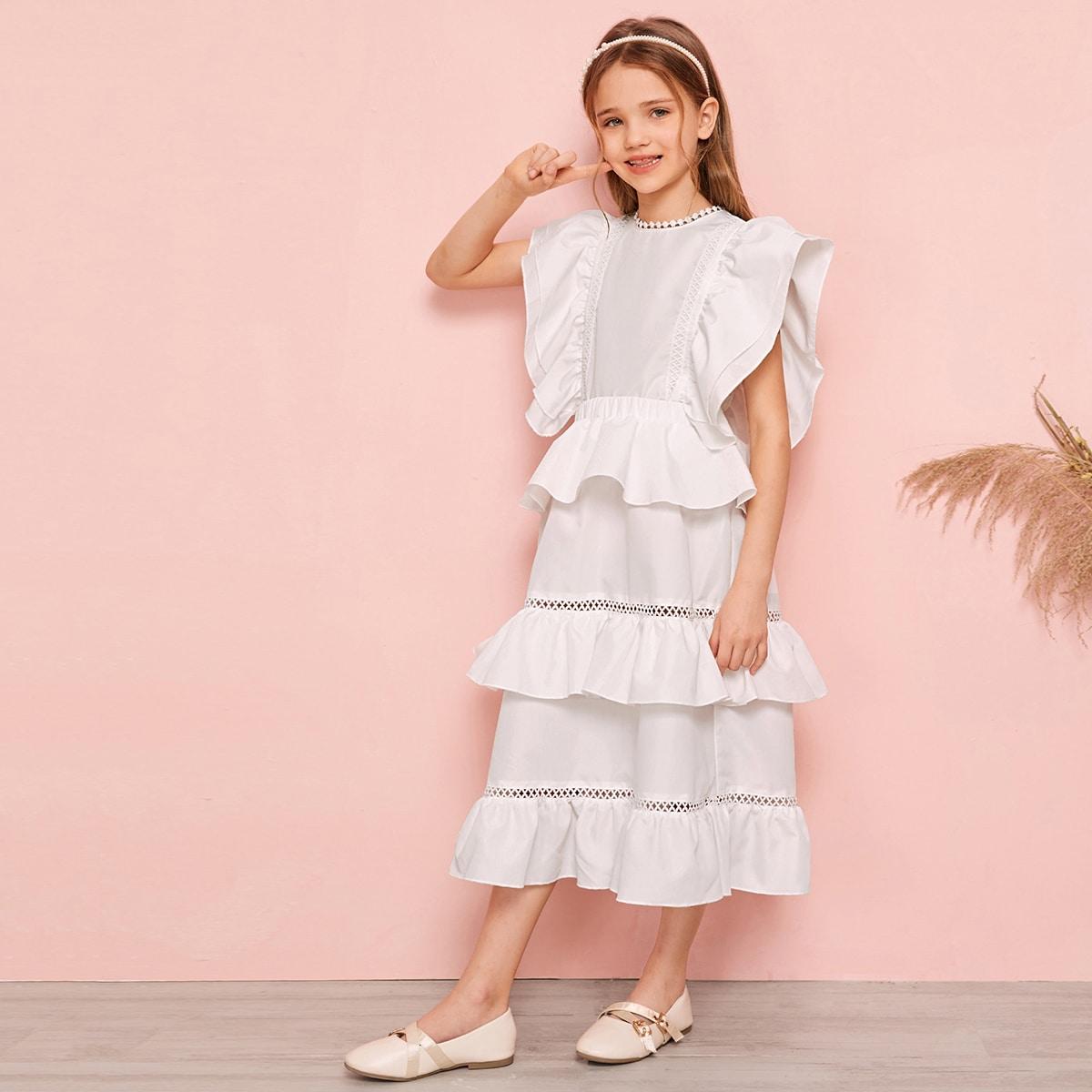 Кружевной топ и многослойная юбка для девочек