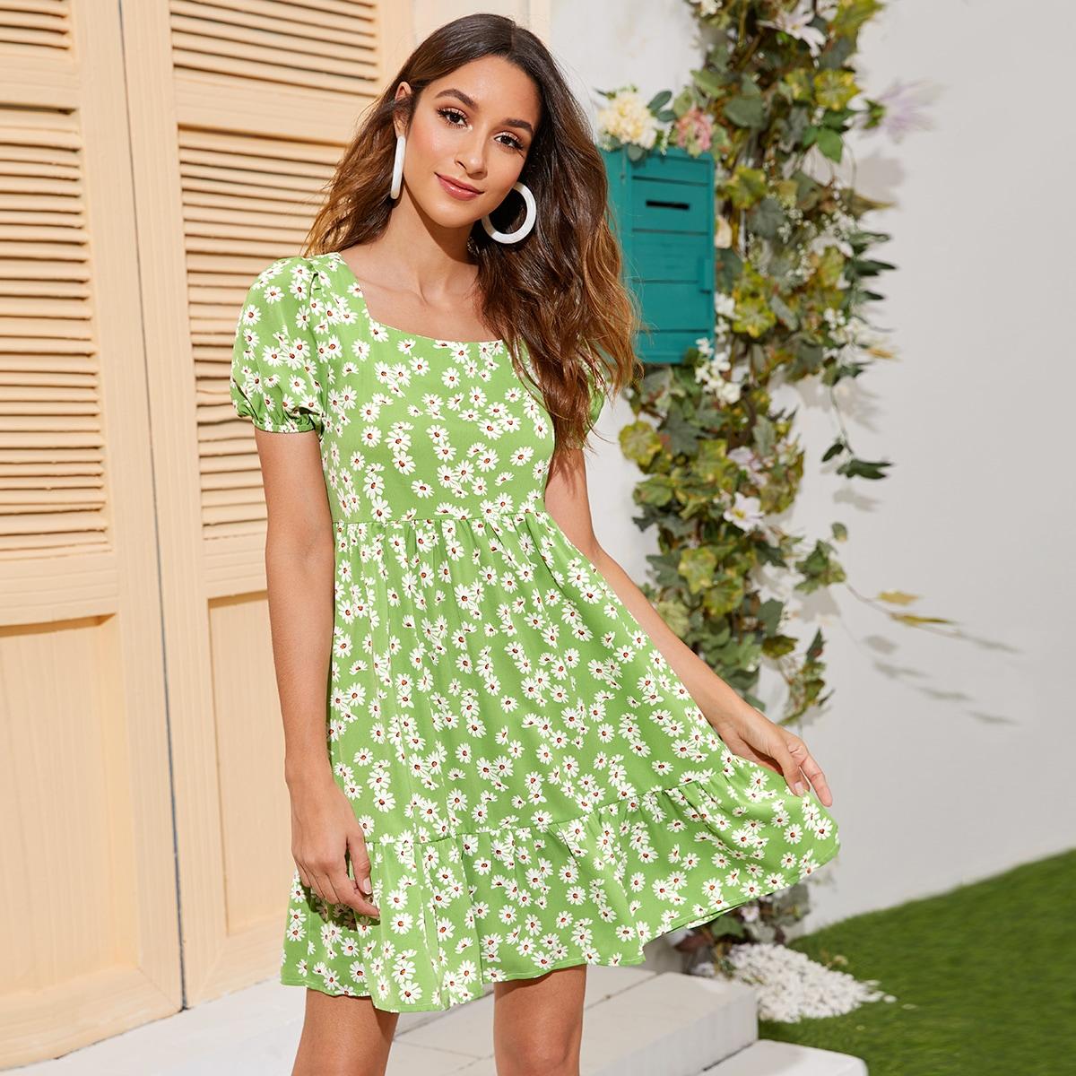 Square Neck Ruffle Hem Daisy Floral Dress thumbnail