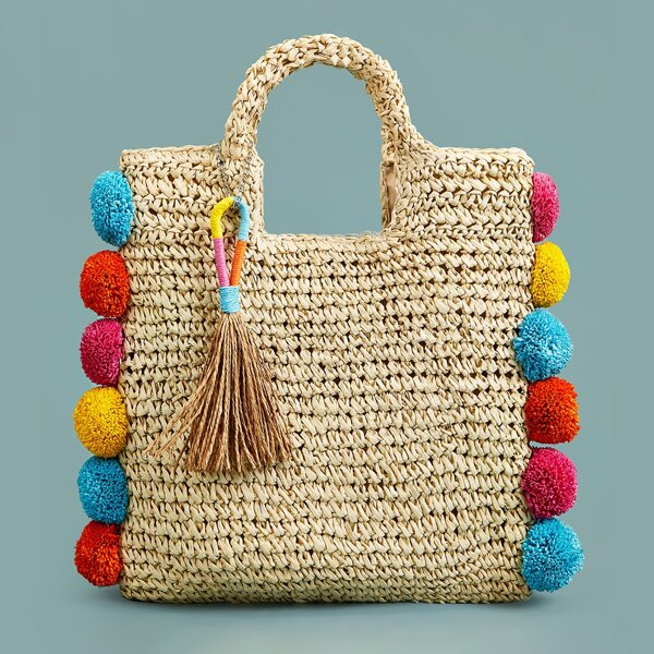 Colorful Pom-pom Trim Braided Satchel Bag, Khaki