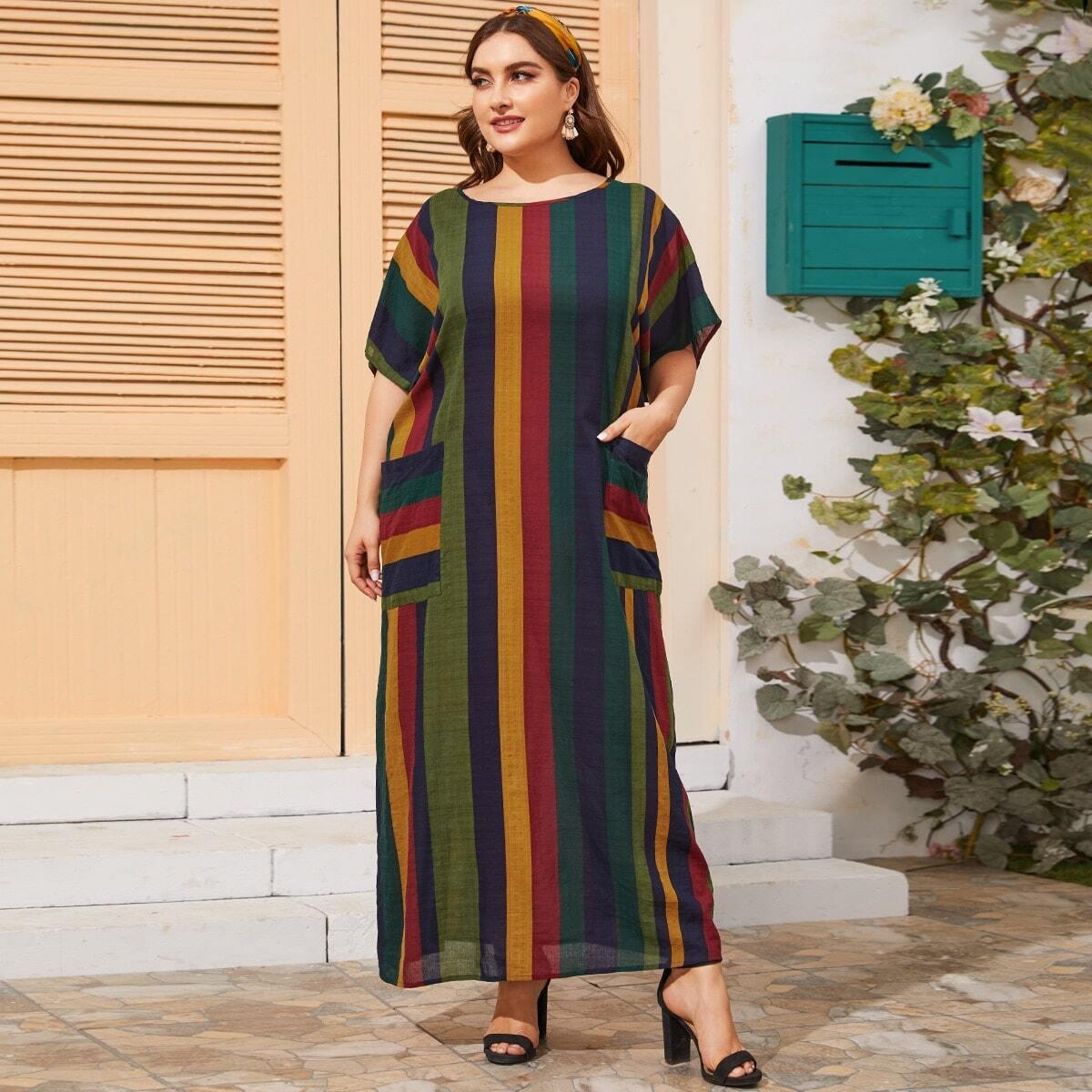 Разноцветное полосатое платье размера плюс