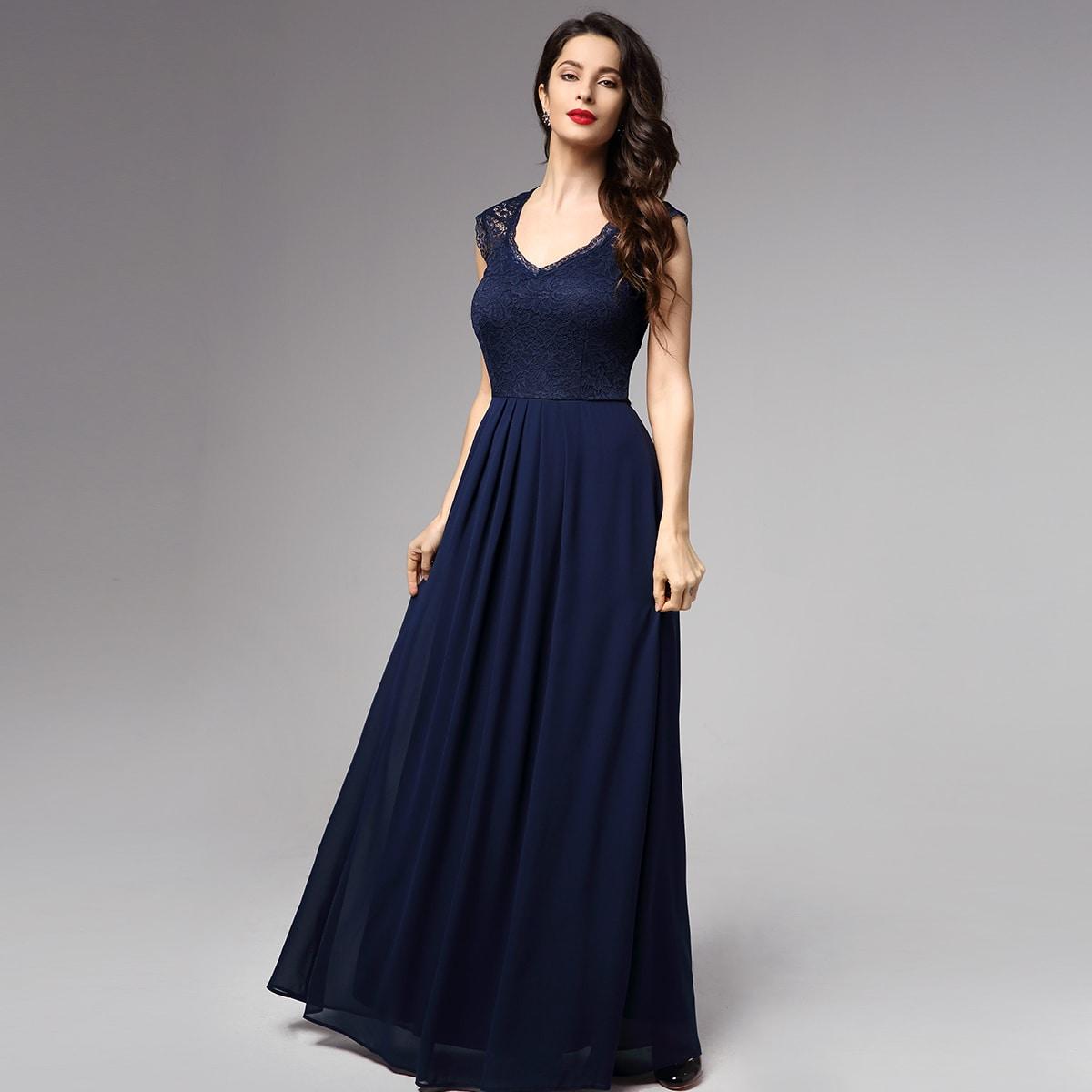 Кружевное плиссированное шифоновое платье