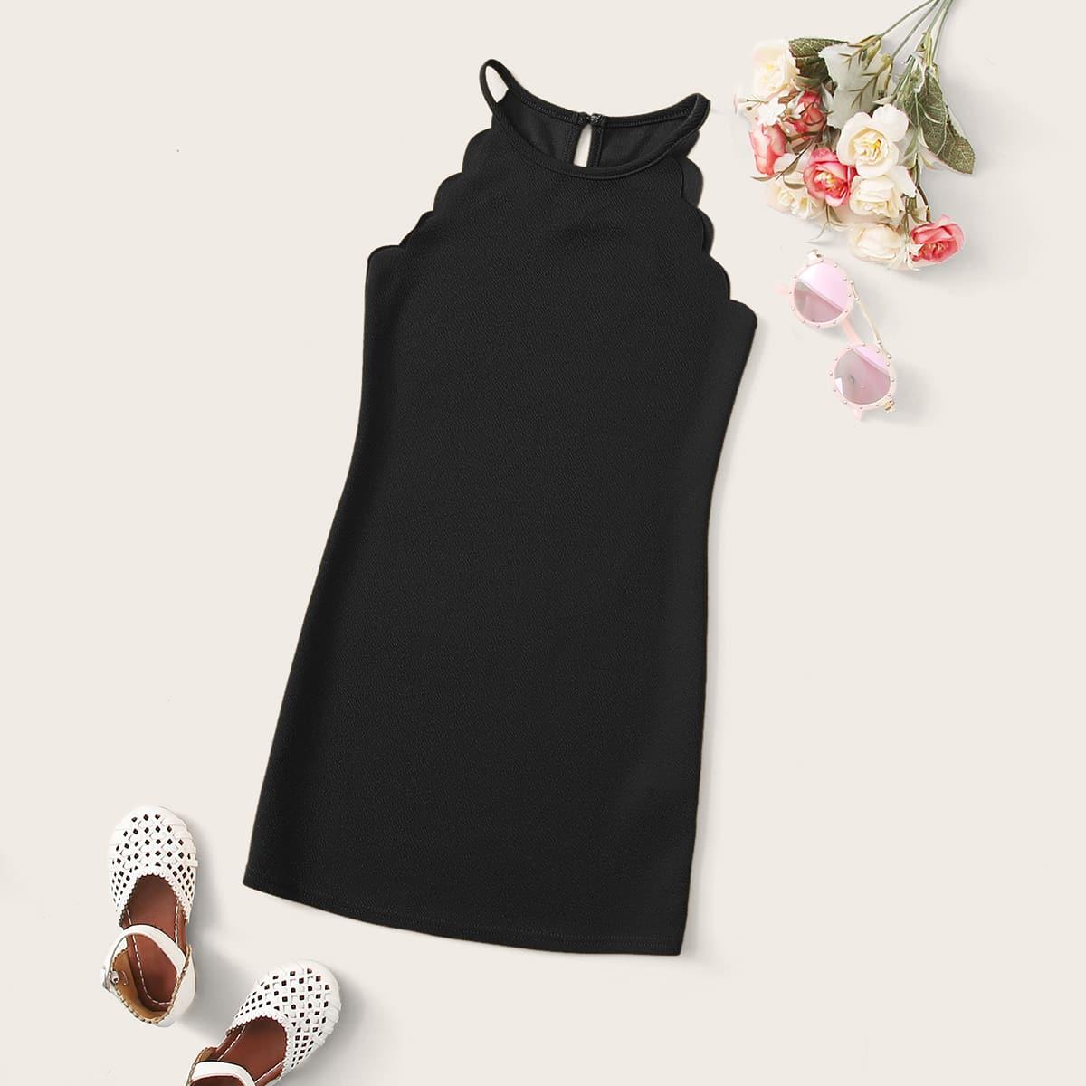 Mädchen Kleid mit Bogenkante und Neckholder