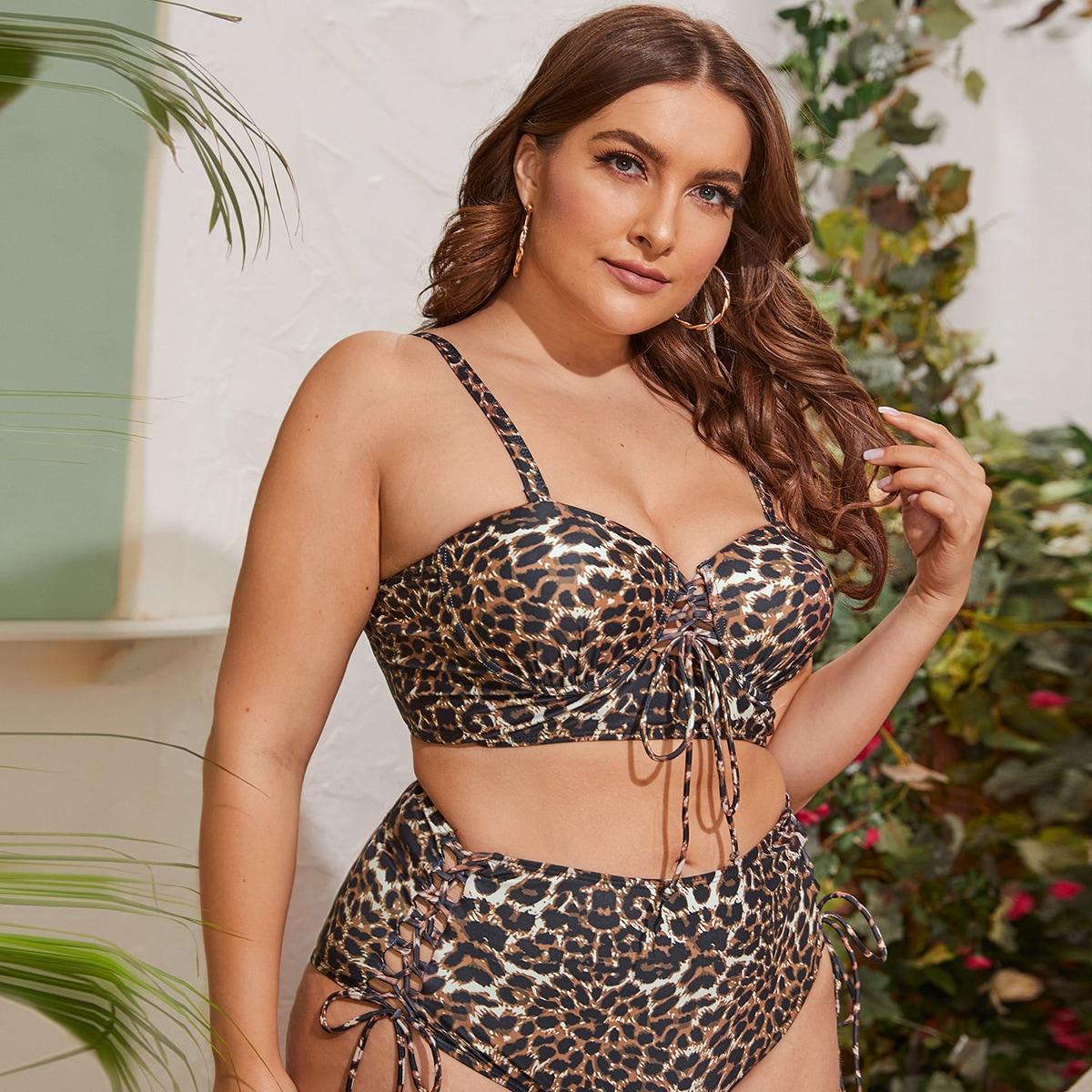 Леопардовый купальник бикини размера плюс с узлом