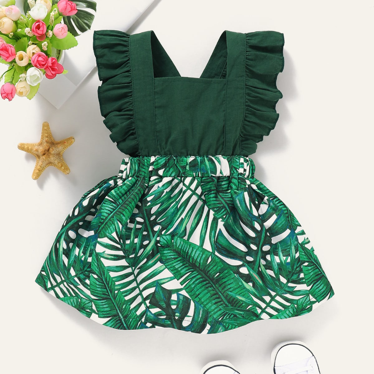 Платье-сарафан с оборками и тропическим принтом для девочек от SHEIN