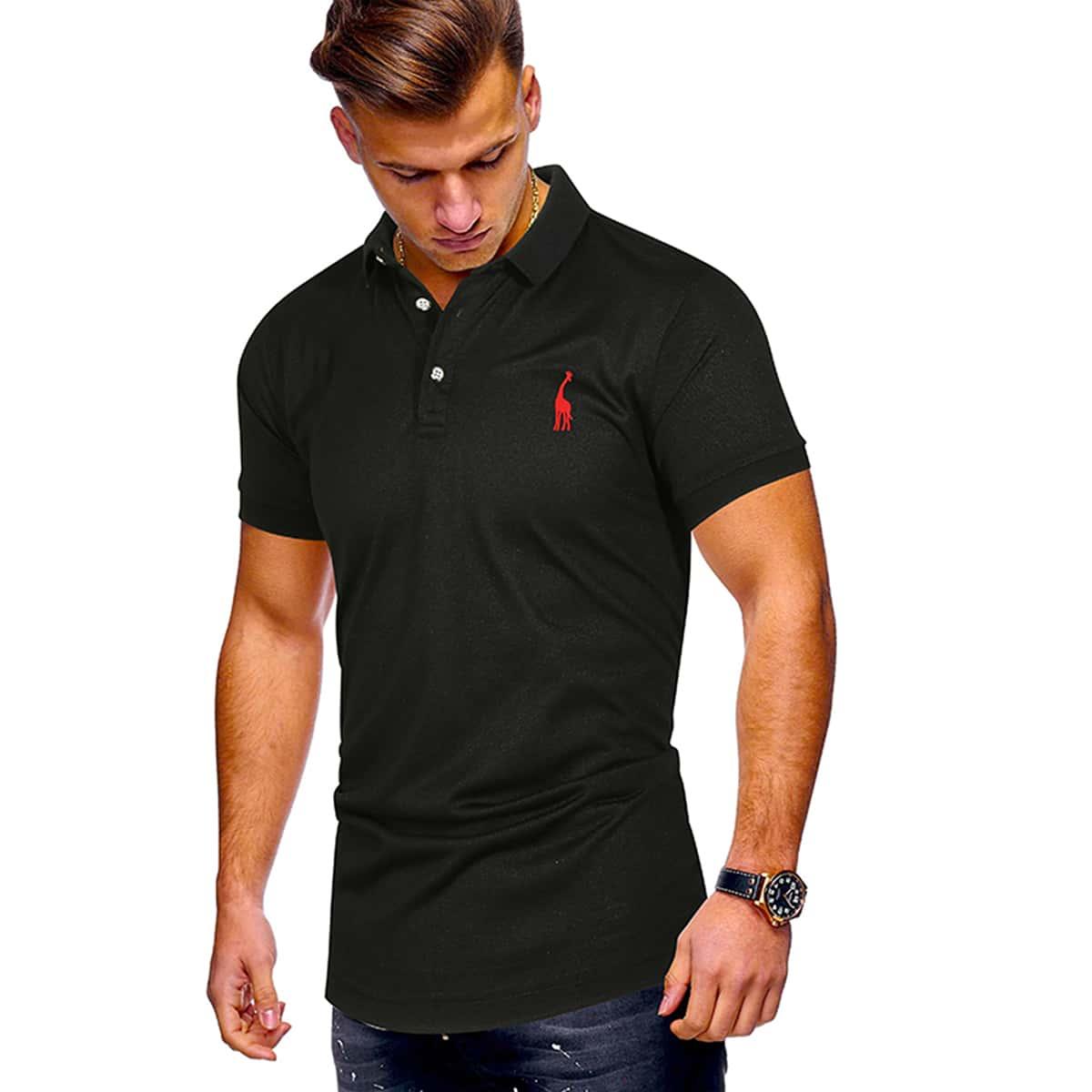 Мужская рубашка-поло с принтом жирафы