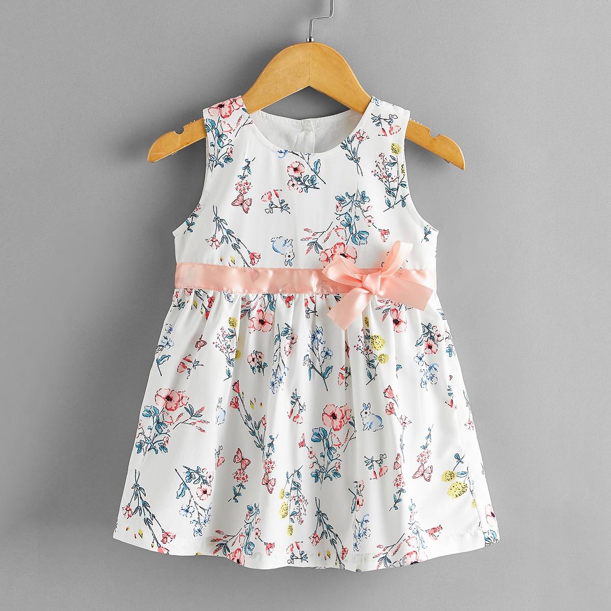 SHEIN Veel kleurig Schattig Bloemen Baby-jurk Knoop Vooraan