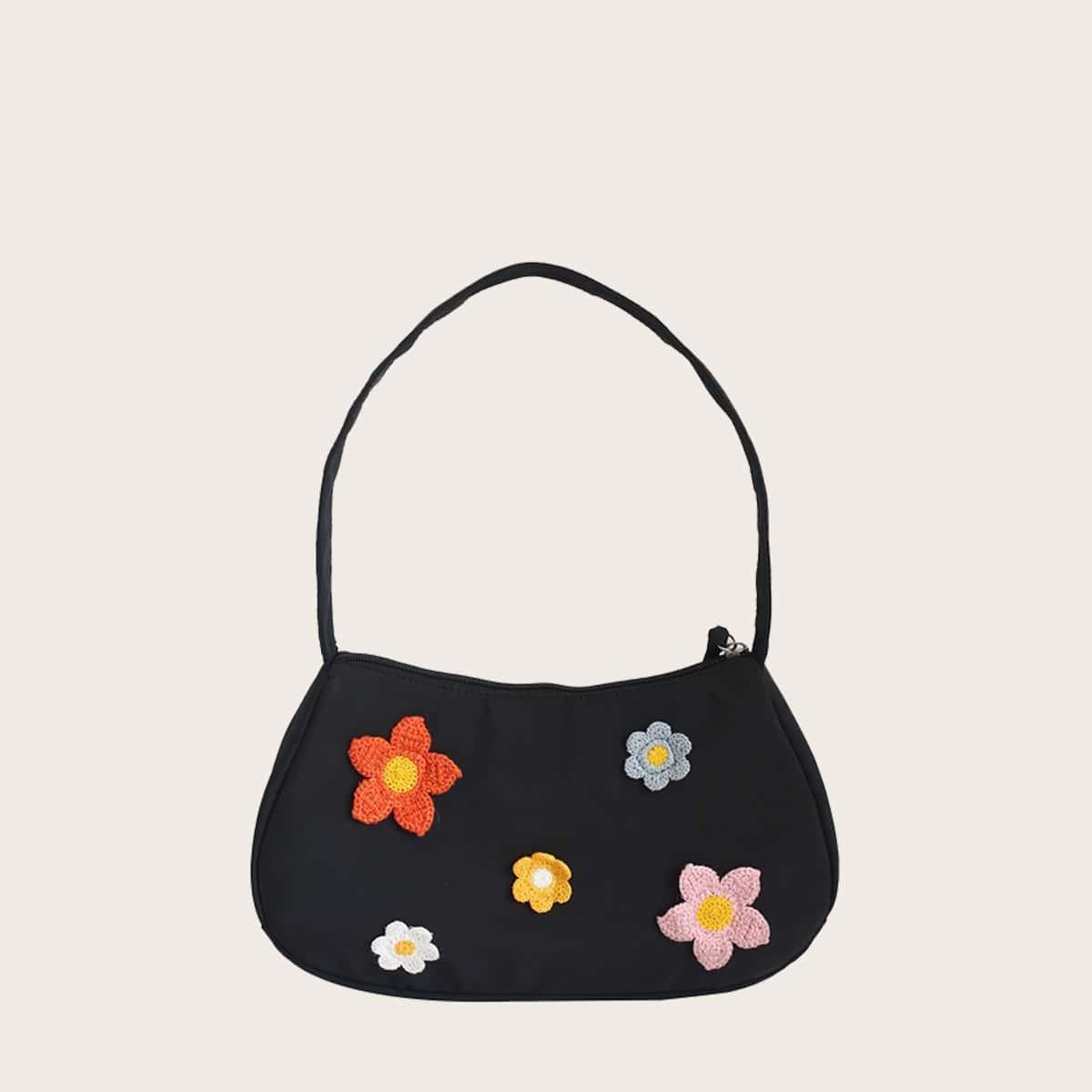 Большая сумка с цветочным декором