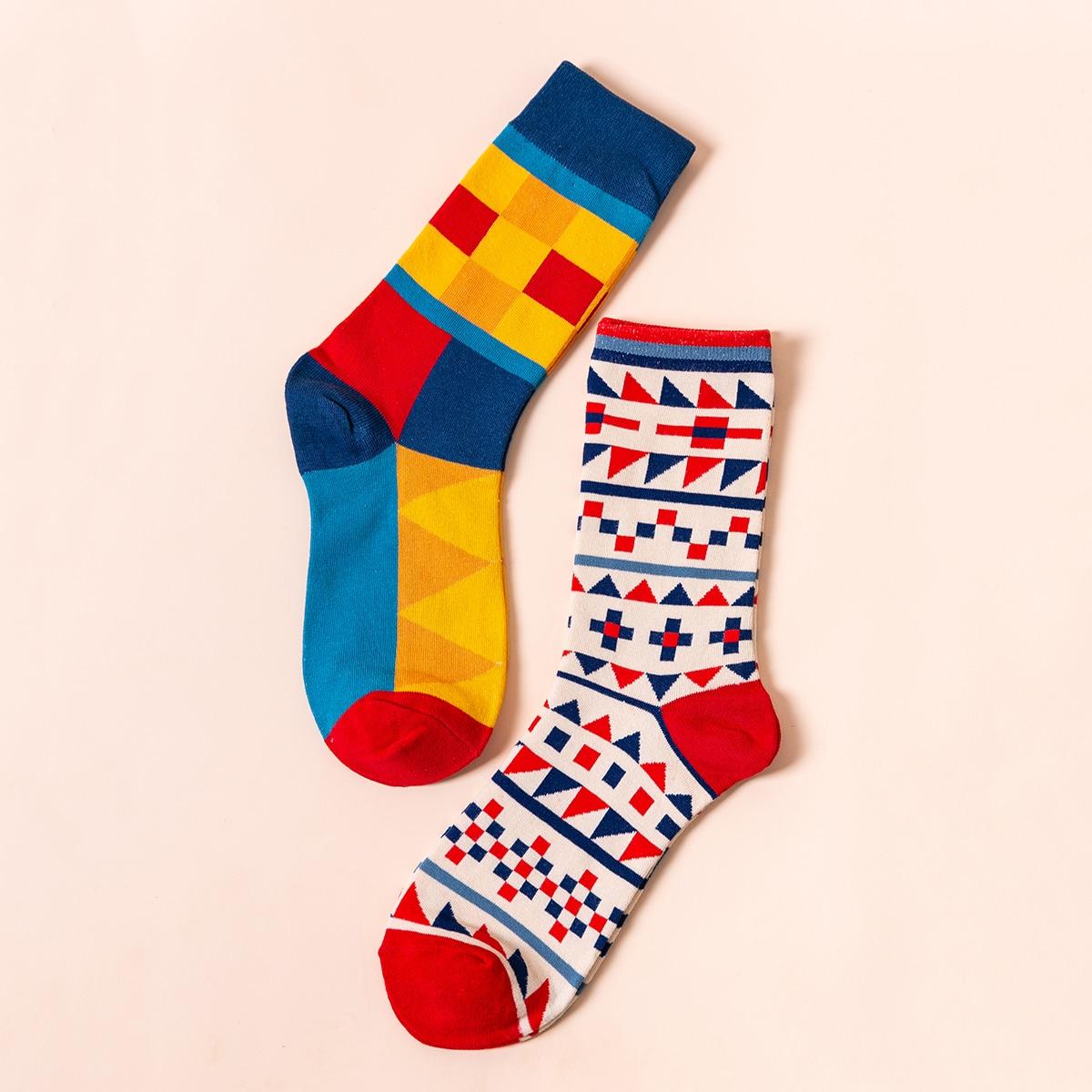 2pairs Men Geo Pattern Socks