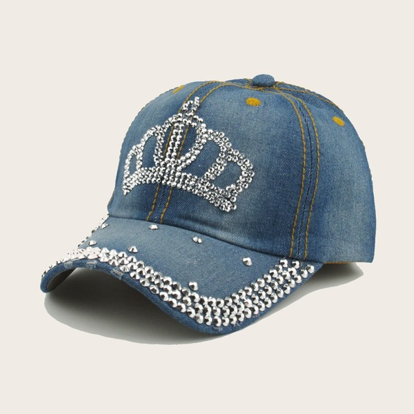 Rhinestone Engraved Baseball Cap, Blue