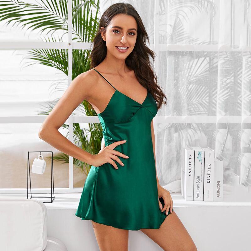 Satin Solid Mini Cami Nightdress, Green