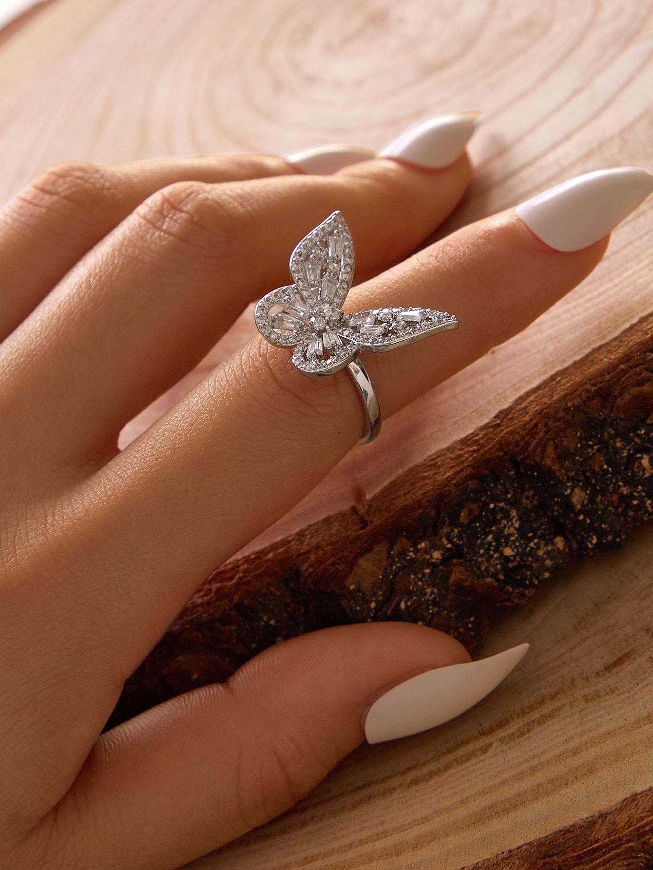 1pc Rhinestone Decor Butterfly Decor Cuff Ring thumbnail