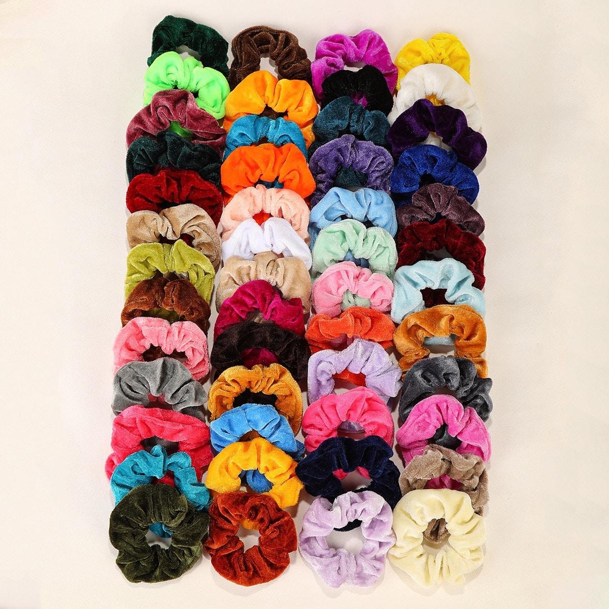 50pcs Colorful Velvet Scrunchie