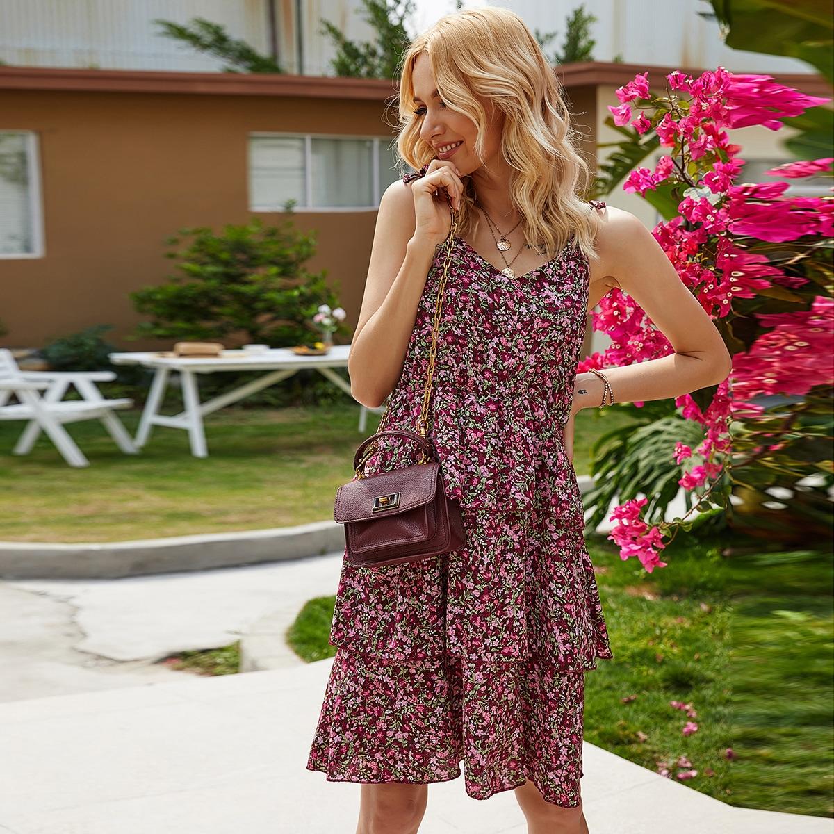 Ditsy Floral Layered Ruffle Hem Tie Shoulder Cami Dress thumbnail