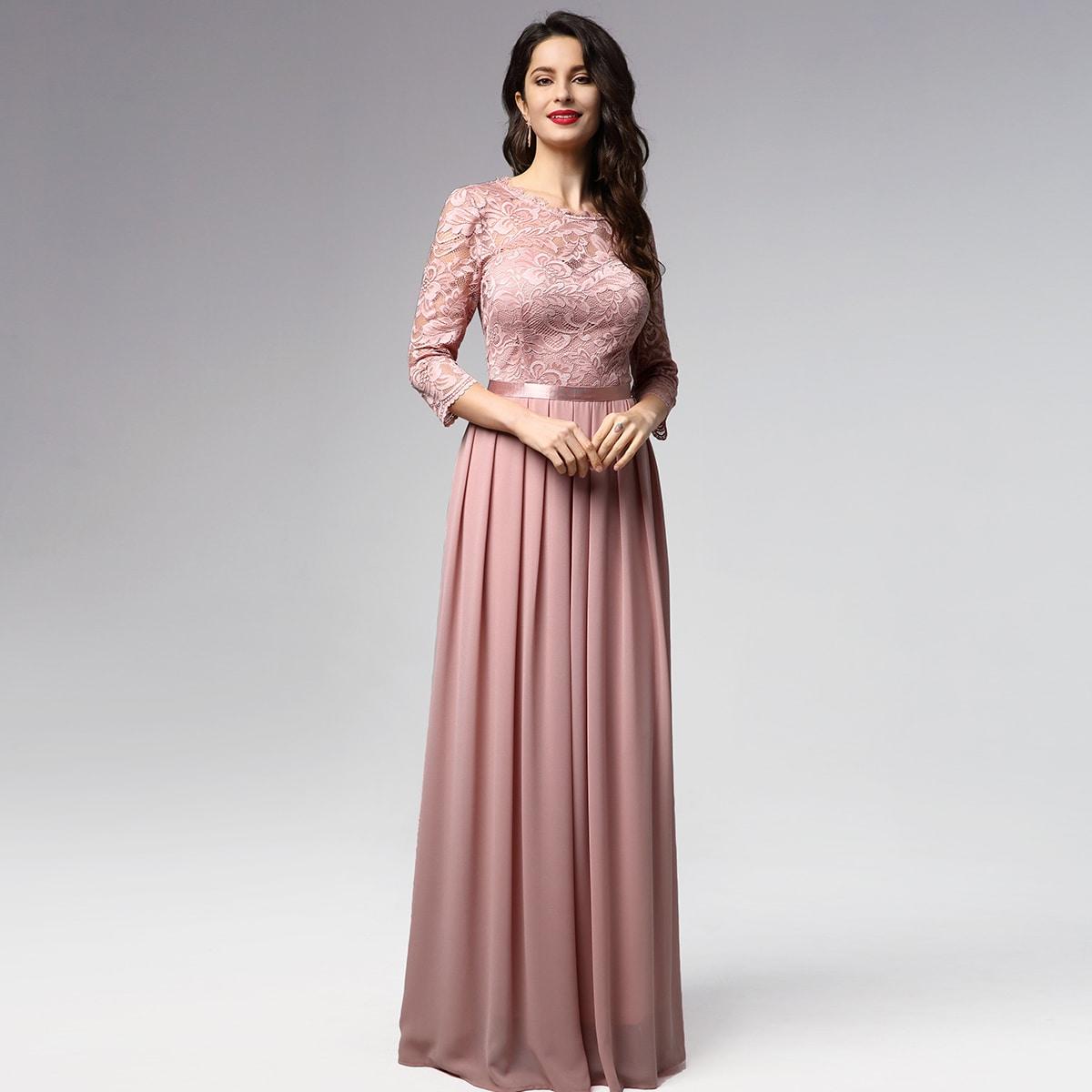 Кружевное плиссированное платье
