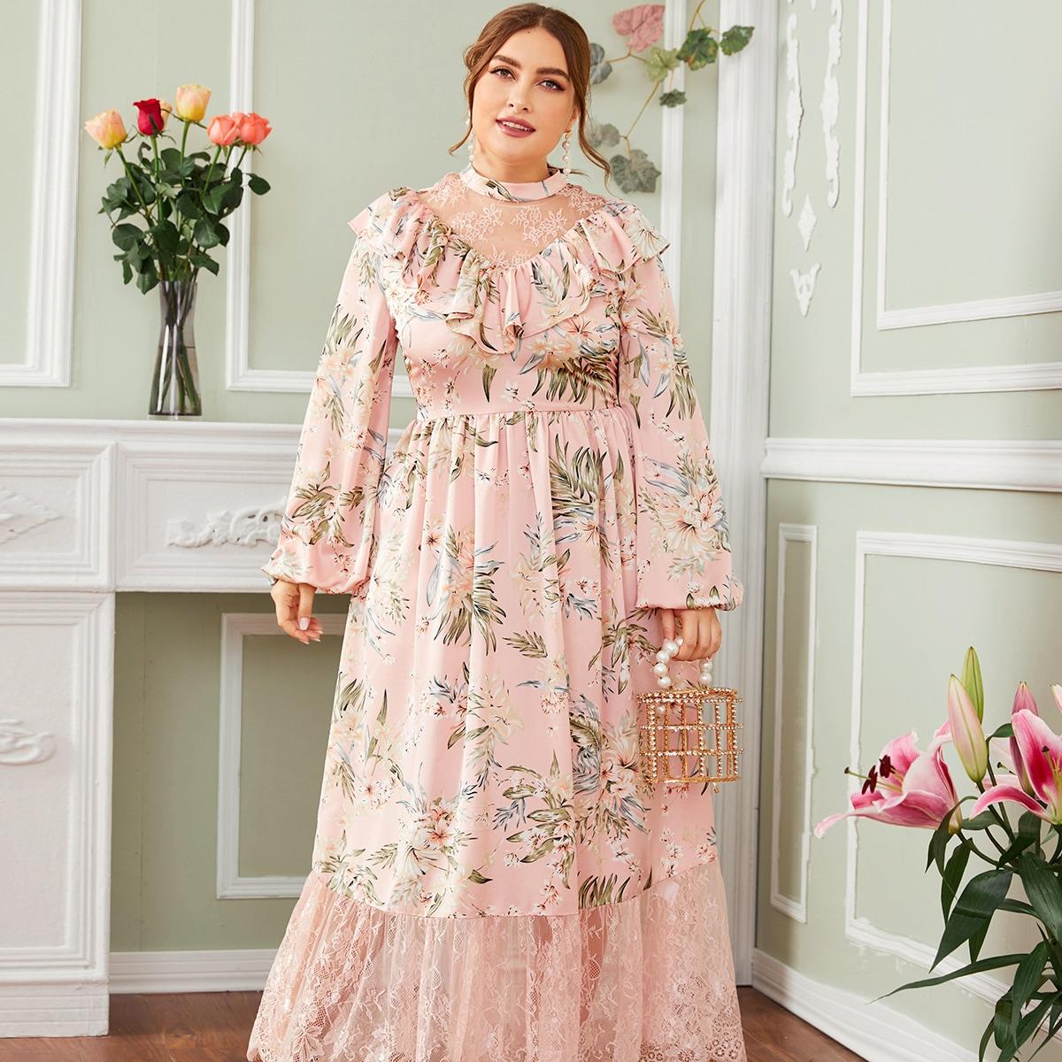 Платье размера плюс с цветочным принтом и кружевной вставкой