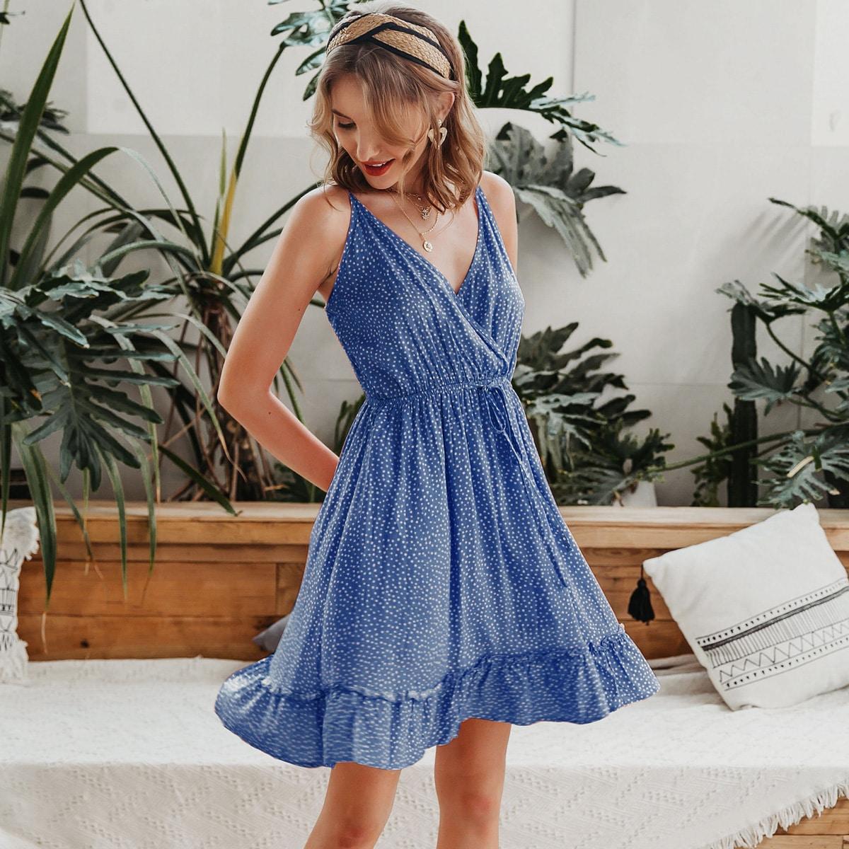 Платье с принтом и оборками