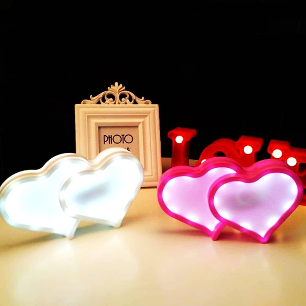 1pc Double Heart Shaped Night Light, Multicolor