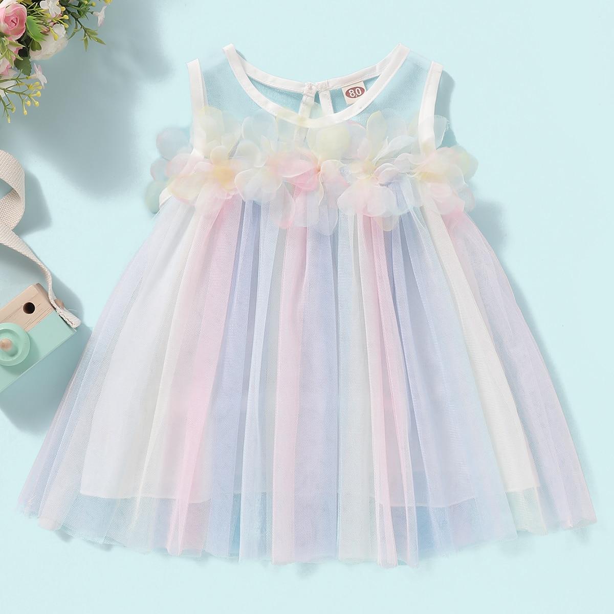 Сетчатое платье с застежкой сзади, пуговицами и аппликацией для девочек от SHEIN