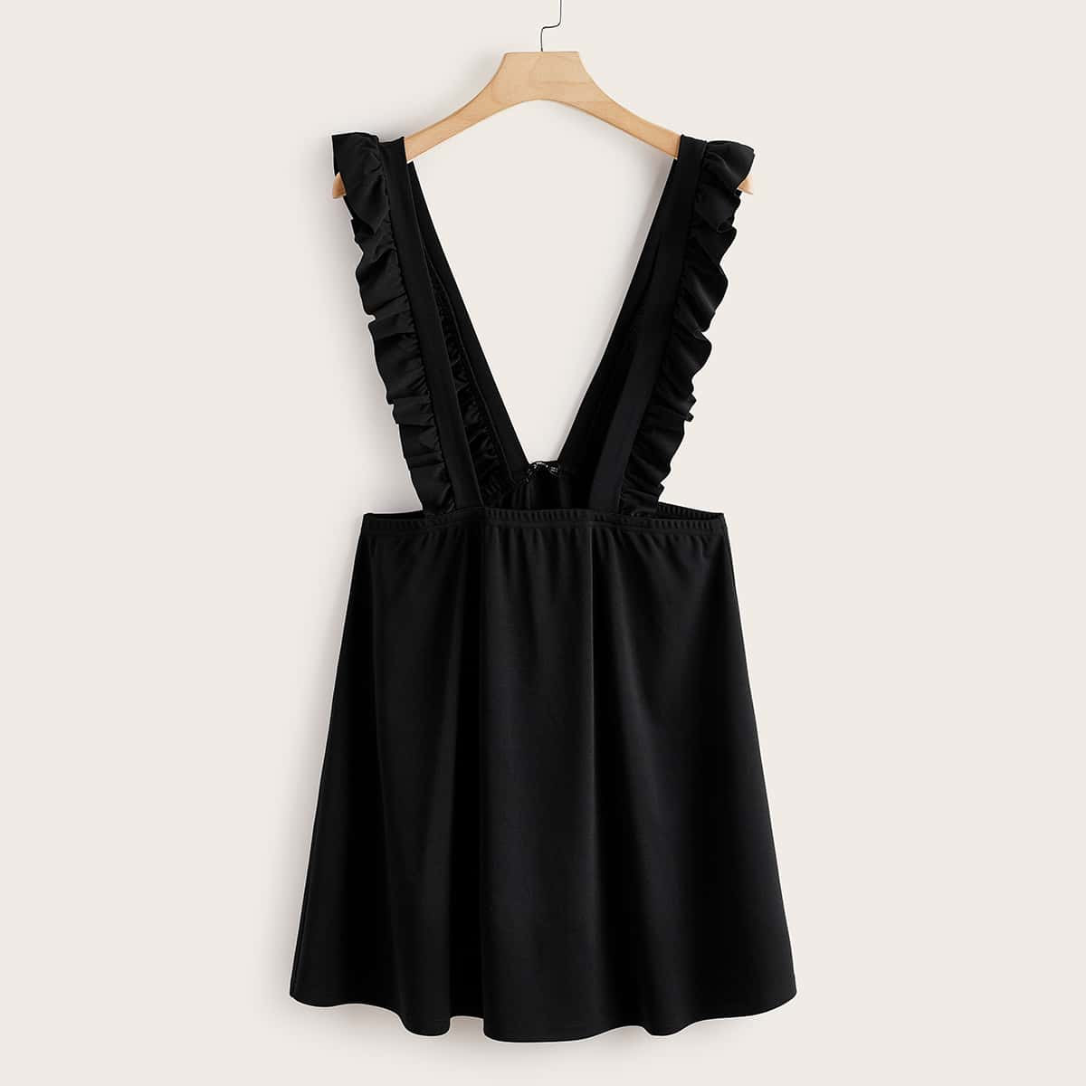 shein Zwart Preppy Vlak Grote maat jurk Rimpeling
