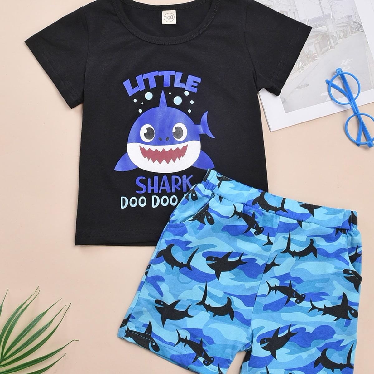 Шорты и футболка с оригинальным принтом для мальчиков